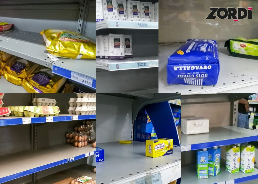 Covid-19, commerce, overbuying, rationnement, hand sanitizers, masques